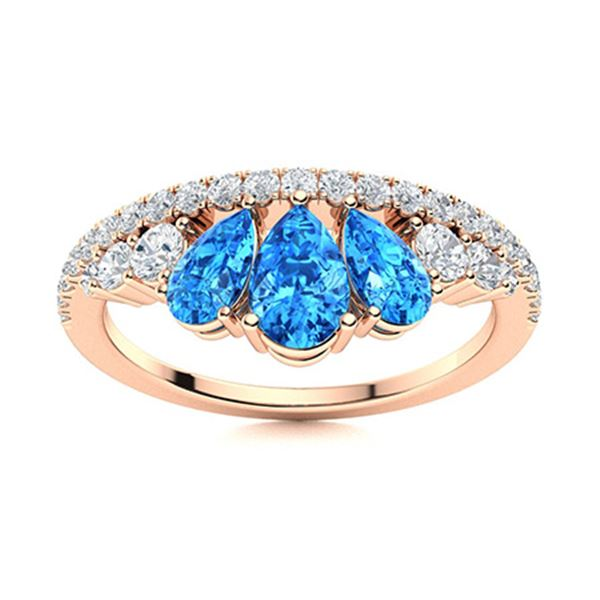 Natural 1.23 CTW Topaz & Diamond Engagement Ring 14K Rose Gold