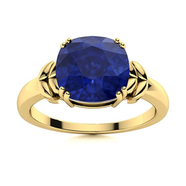 Natural 2.96 CTW Sapphire Solitaire Ring 14K Yellow Gold