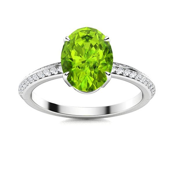 Natural 2.46 CTW Peridot & Diamond Engagement Ring 18K White Gold