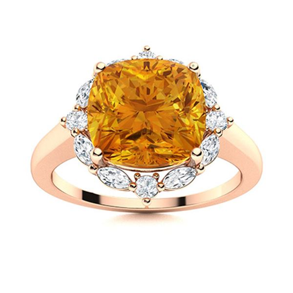 Natural 3.04 CTW Citrine & Diamond Engagement Ring 14K Rose Gold