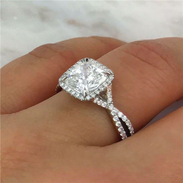 Natural 2.42 CTW Crisscross Cushion Cut Diamond Engagement Ring 14KT White Gold