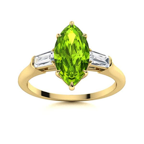 Natural 1.82 CTW Peridot & Diamond Engagement Ring 18K Yellow Gold