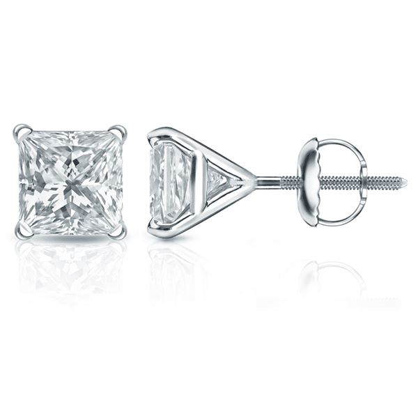Natural 4.02 CTW Princess Cut Diamond Stud Earrings 14KT White Gold