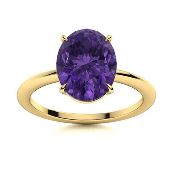 Natural 3.07 CTW Amethyst Solitaire Ring 18K Yellow Gold
