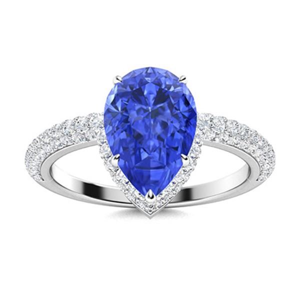 Natural 2.84 CTW Ceylon Sapphire & Diamond Engagement Ring 18K White Gold
