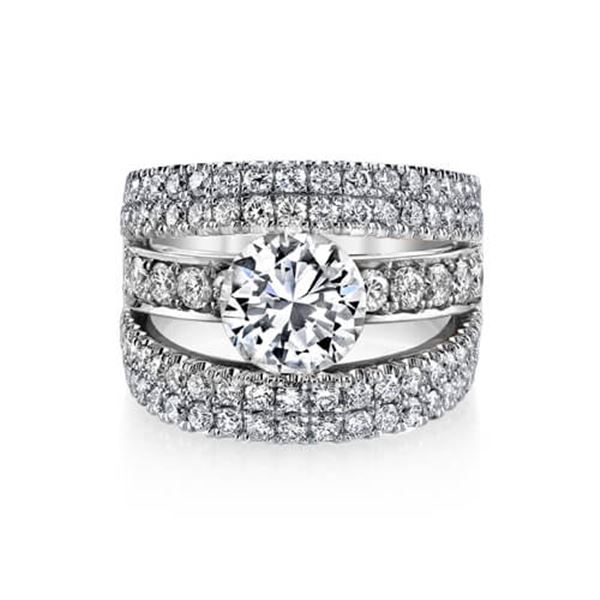 Natural 4.32 CTW Round Cut Pave Split Shank Diamond Ring 18KT White Gold