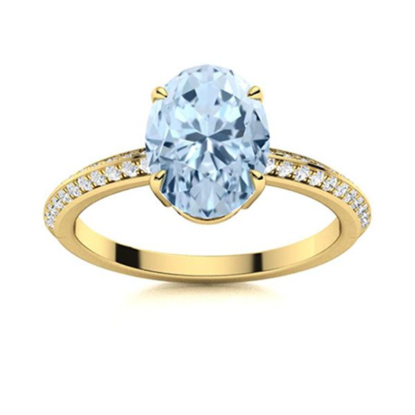 Natural 1.80 CTW Aquamarine & Diamond Engagement Ring 18K Yellow Gold