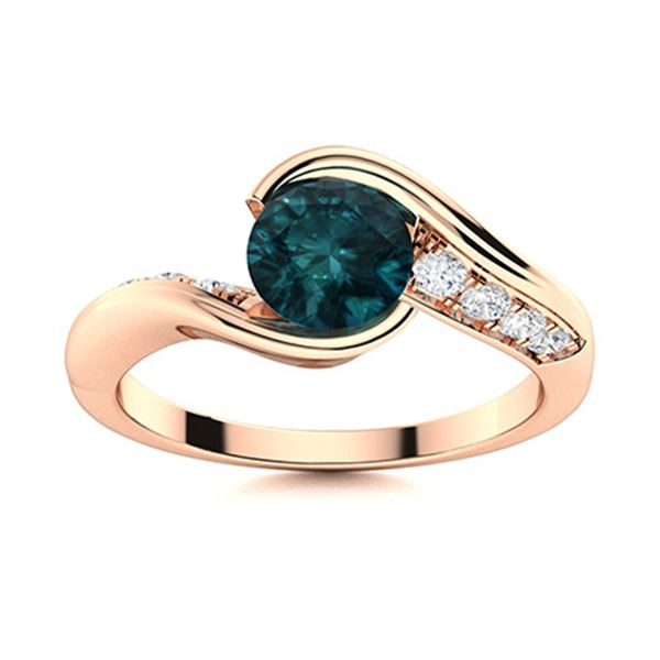 Natural 0.82 CTW Blue & White Diamond Engagement Ring 18K Rose Gold