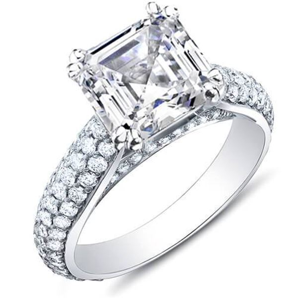 Natural 3.39 CTW Asscher Cut w/ Round Cut Micro Pave Diamond Engagement Ring 18KT White Gold