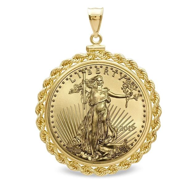 2019 1 oz Gold Eagle Pendant (Rope-ScrewTop Bezel)