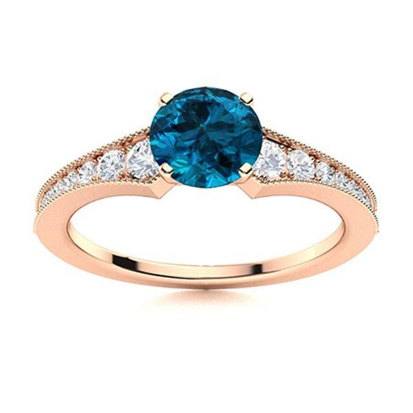 Natural 0.85 CTW Topaz & Diamond Engagement Ring 14K Rose Gold