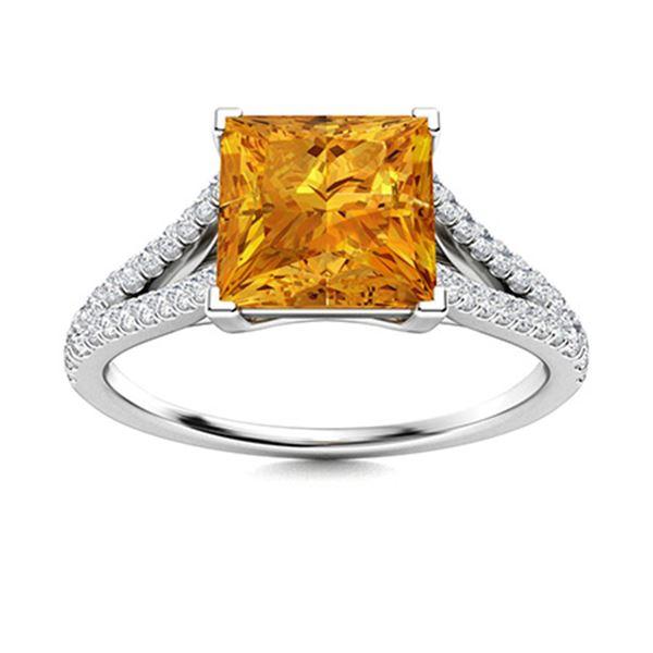 Natural 0.80 CTW Citrine & Diamond Engagement Ring 14K White Gold
