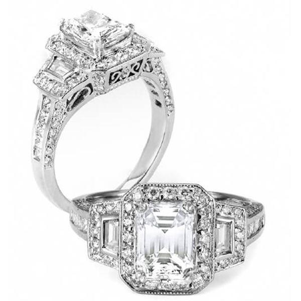 Natural 2.42 CTW Halo Emerald Cut Princess & Trapezoids Diamond Ring 14KT White Gold