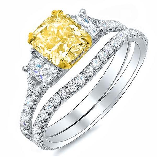Natural 2.52 CTW Cushion Cut Intense Yellow Diamond Ring 18KT Two-tone