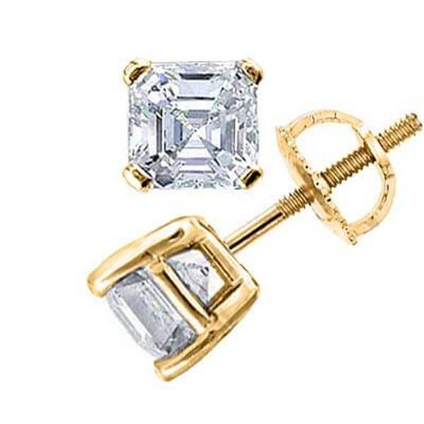 Natural 0.72 CTW Asscher Cut Diamond Stud Earrings 18KT Yellow Gold