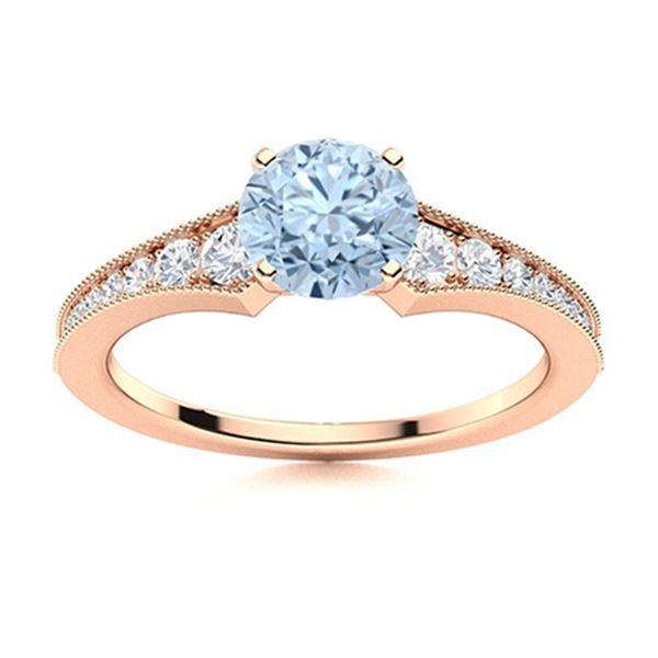 Natural 1.45 CTW Aquamarine & Diamond  Engagement Ring 14K Rose Gold
