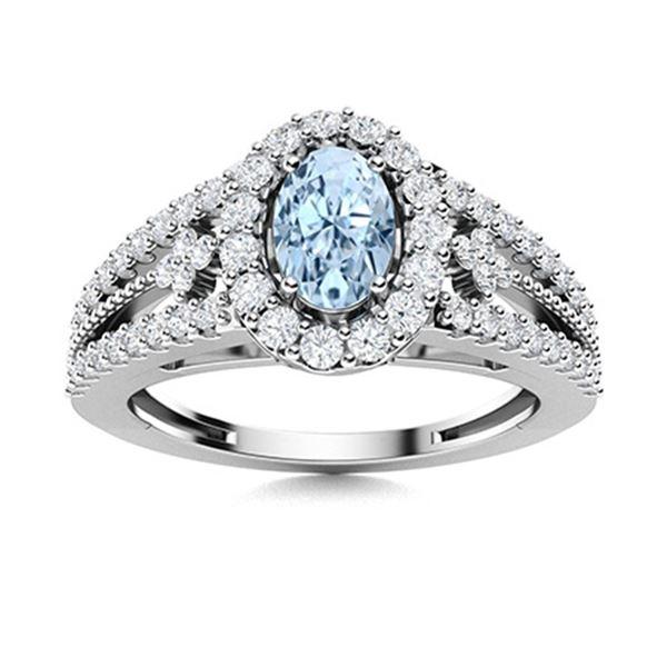 Natural 0.85 CTW Aquamarine & Diamond Engagement Ring 14K White Gold