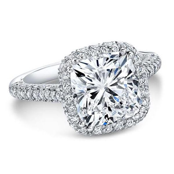 Natural 3.92 CTW Top Side Halo Cushion Cut Diamond Engagement Ring 18KT White Gold
