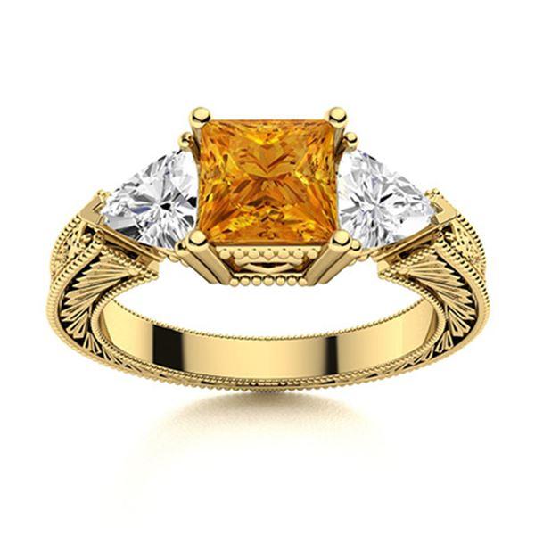 Natural 1.87 CTW Citrine & Diamond Engagement Ring 18K Yellow Gold