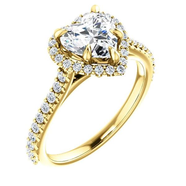 Natural 1.72 CTW Halo Heart Brilliant Cut Forever Diamond Engagement Ring 18KT Yellow Gold