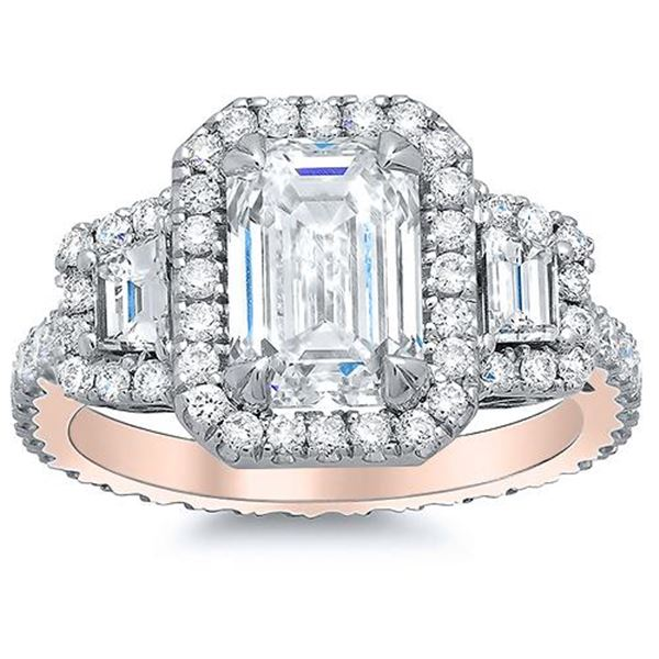 Natural 2.32 CTW Halo Emerald Cut & Trapezoids Diamond Engagement Ring 14KT Rose Gold