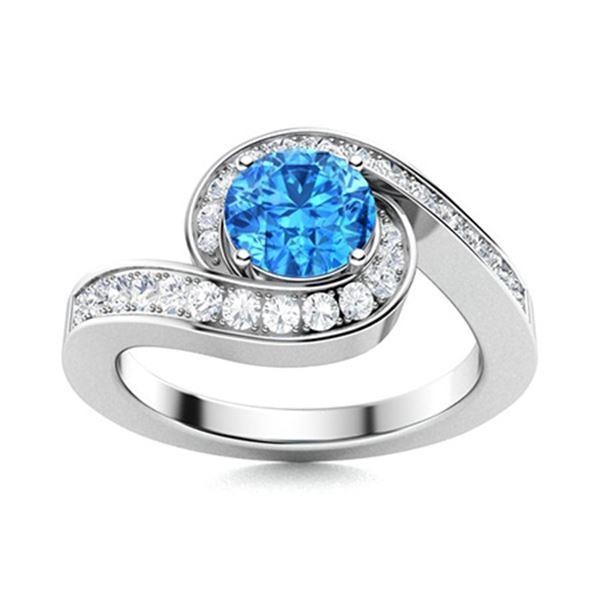 Natural 1.09 CTW Topaz & Diamond Engagement Ring 14K White Gold
