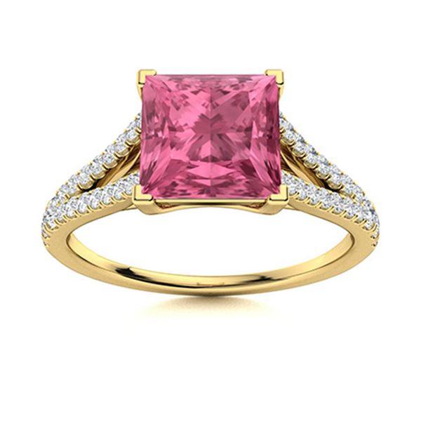 Natural 1.17 CTW Tourmaline & Diamond Engagement Ring 18K Yellow Gold