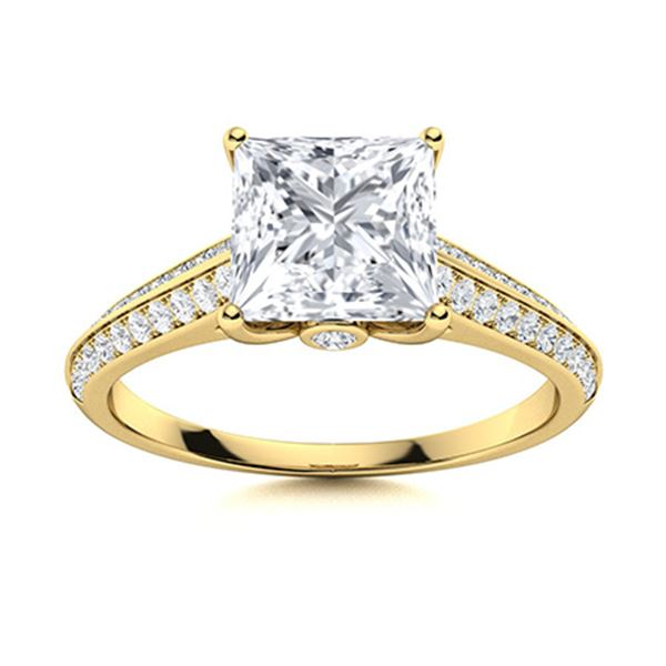 Natural 0.98 CTW Diamond Solitaire Ring 14K Yellow Gold