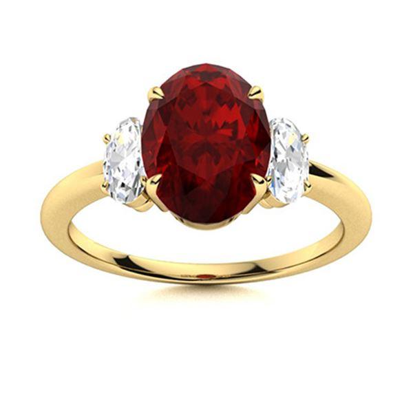Natural 2.98 CTW Garnet & Diamond Engagement Ring 18K Yellow Gold