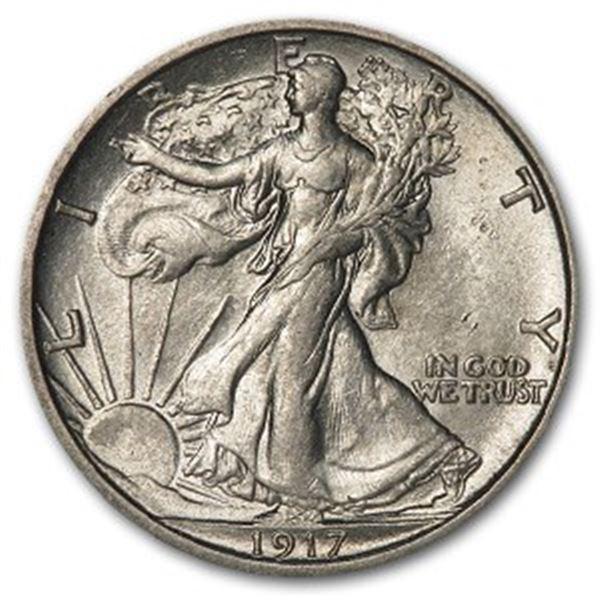 1917-S Reverse Walking Liberty Half Dollar AU-58