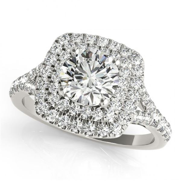 Natural 1.6 ctw Diamond Solitaire Halo Ring 14k White Gold
