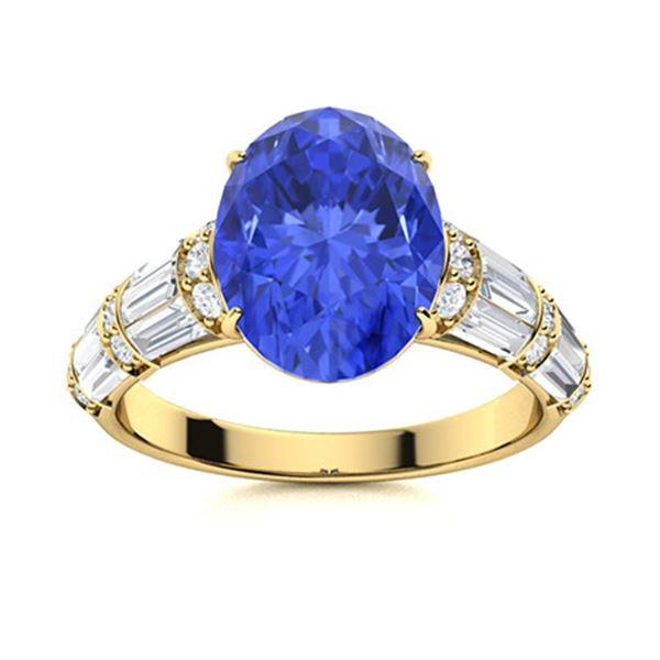 Natural 4.13 CTW Ceylon Sapphire & Diamond Engagement Ring 14K Yellow Gold