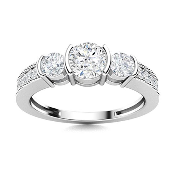 Natural 0.86 CTW Diamond Solitaire Ring 14K White Gold