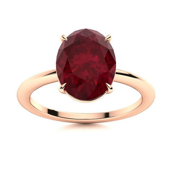 Natural 1.89 CTW Ruby Solitaire Ring 18K Rose Gold