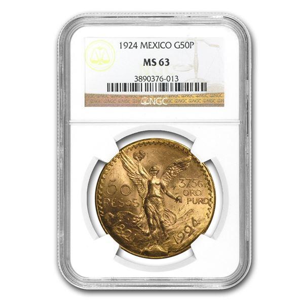 1924 Mexico Gold 50 Pesos MS-63 NGC