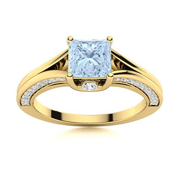 Natural 1.08 CTW Aquamarine & Diamond  Engagement Ring 18K Yellow Gold