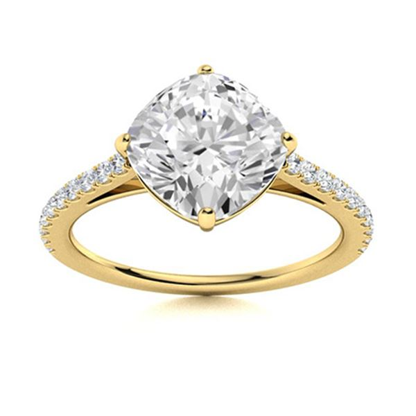 Natural 0.86 CTW Diamond Solitaire Ring 18K Yellow Gold