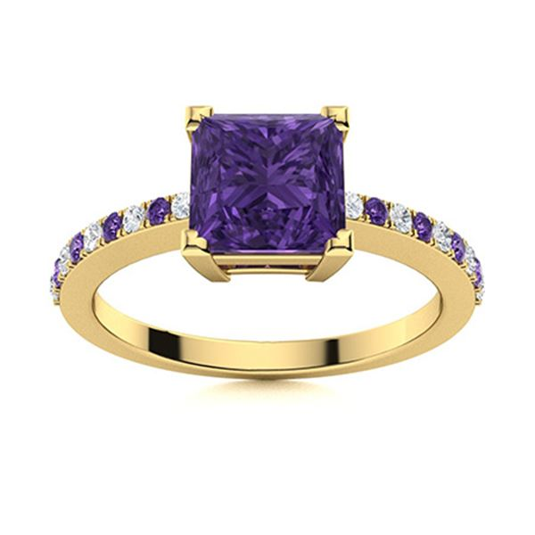 Natural 1.05 CTW Amethyst & Diamond  Engagement Ring 18K Yellow Gold