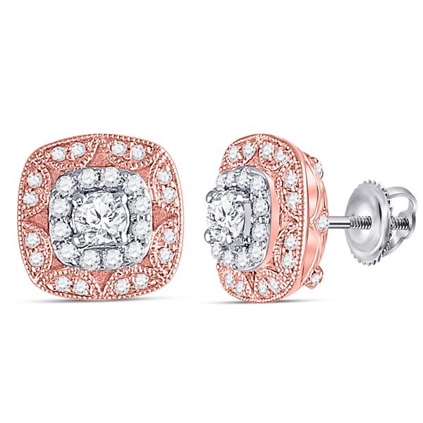 14kt Two-tone Gold Womens Round Diamond Square Halo Earrings 1/2 Cttw