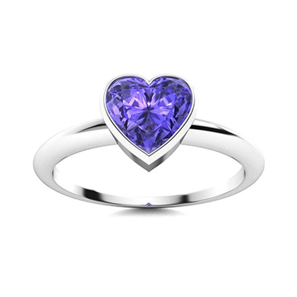 Natural 1.55 CTW Tanzanite Solitaire Ring 14K White Gold