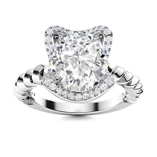 Natural 2.41 CTW Topaz & Diamond Engagement Ring 14K White Gold