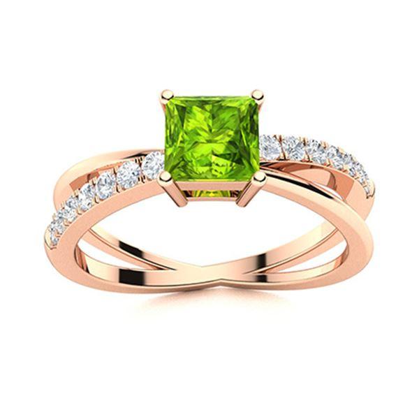 Natural 0.70 CTW Peridot & Diamond Engagement Ring 14K Rose Gold