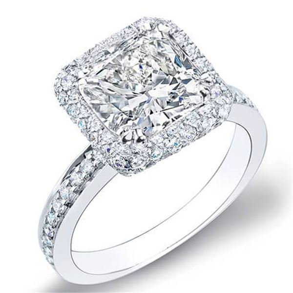 Natural 4.02 CTW Halo Cushion Cut Diamond Engagement Ring 14KT White Gold
