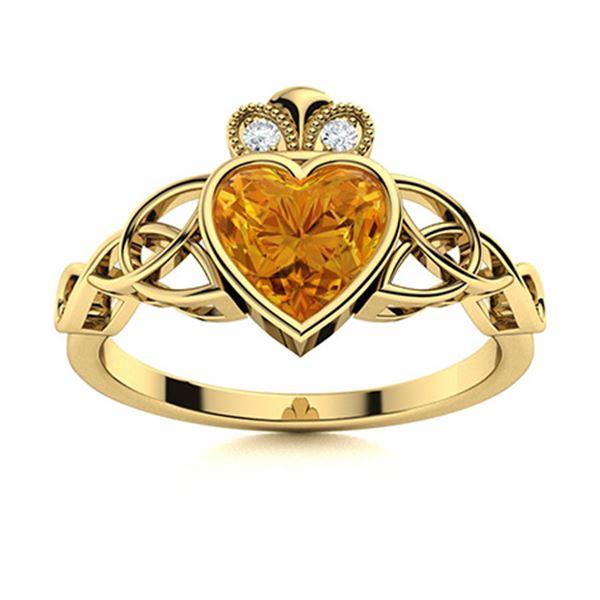 Natural 0.68 CTW Citrine & Diamond Engagement Ring 18K Yellow Gold