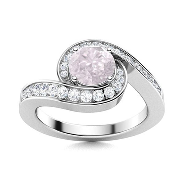 Natural 1.10 CTW Rose Quartz & Diamond Engagement Ring 18K White Gold