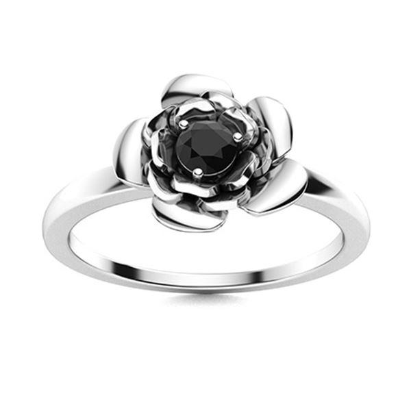 Natural 0.17 CTW Black Diamond Solitaire Ring 18K White Gold