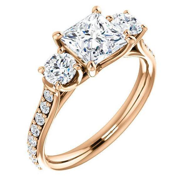 Natural 1.72 CTW 3-Stone princess Cut & Rounds Diamond Ring 18KT Rose Gold
