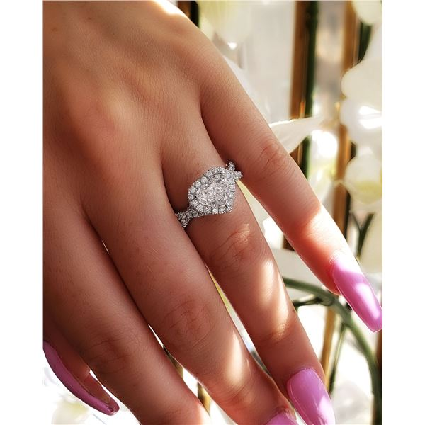 Natural 2.82 CTW Halo Heart Shape Twist Shank Diamond Ring 14KT White Gold