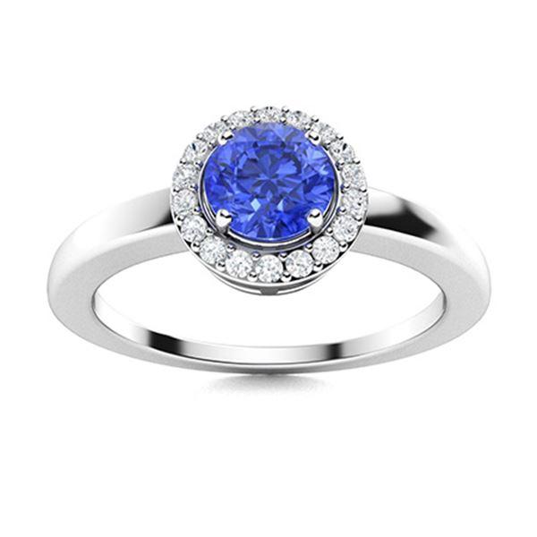 Natural 0.62 CTW Ceylon Sapphire & Diamond Engagement Ring 14K White Gold