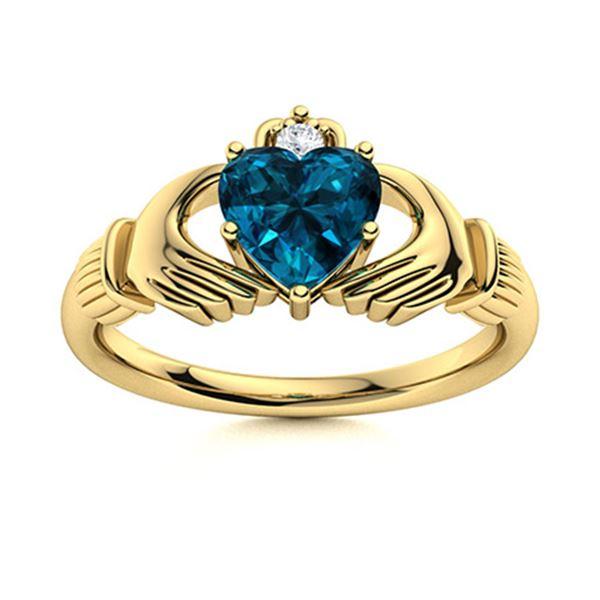 Natural 0.92 CTW Topaz & Diamond  Engagement Ring 14K Yellow Gold